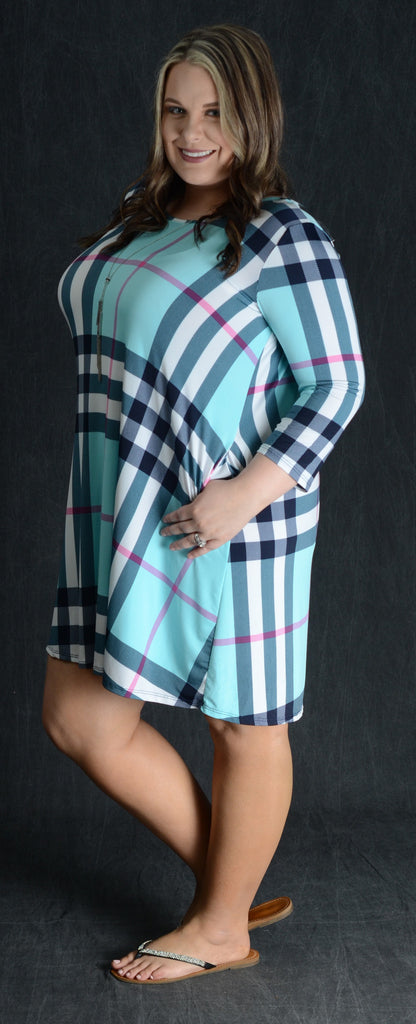 Aqua Checker Pocket Dress