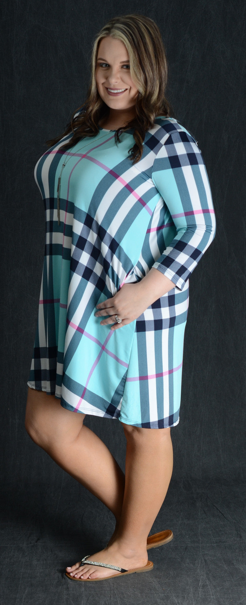 Aqua Checker Pocket Dress - www.mycurvystore.com - Curvy Boutique