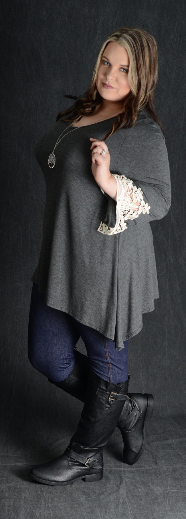 Charcoal Crochet Cuff Tunic Top - www.mycurvystore.com - Curvy Boutique - Plus Size