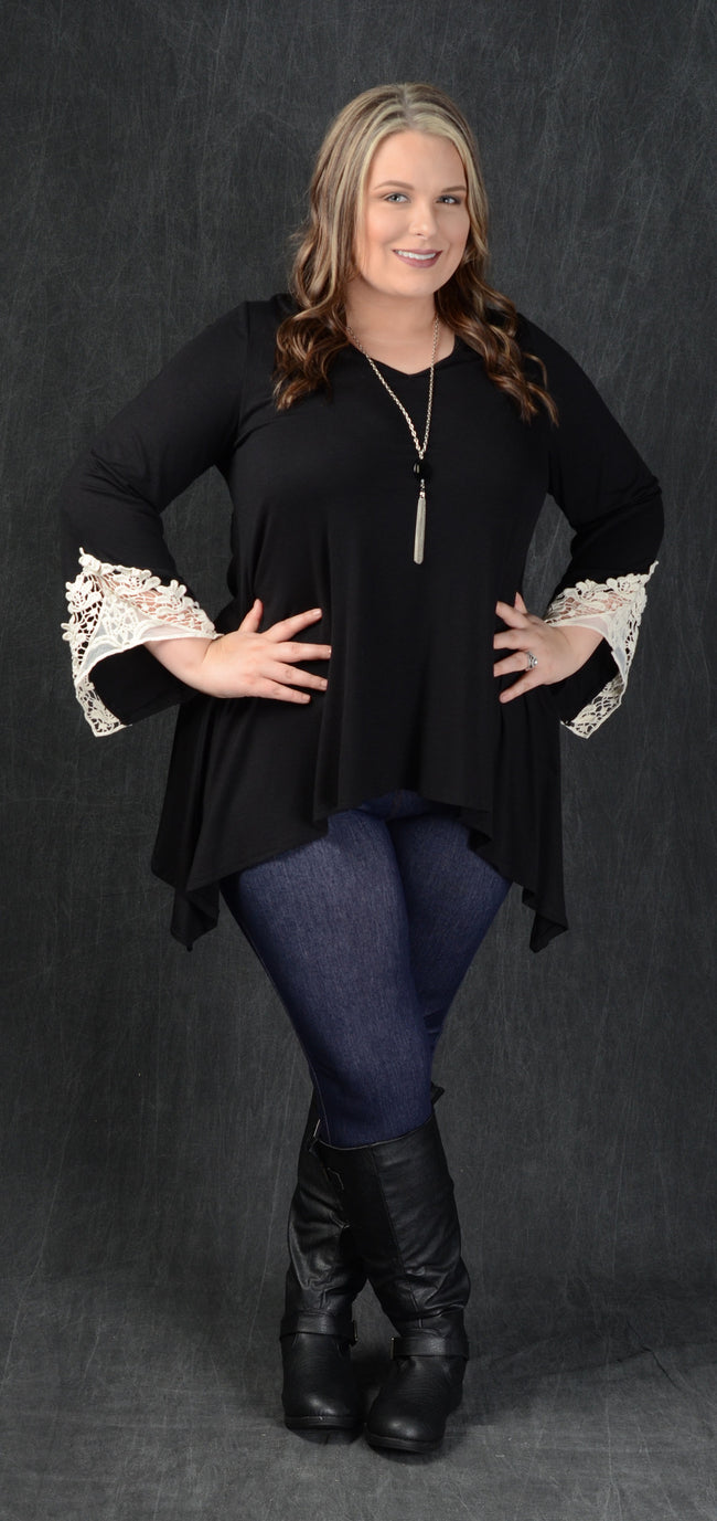 Black Crochet Cuff Tunic Top - www.mycurvystore.com - Curvy Boutique - Plus Size