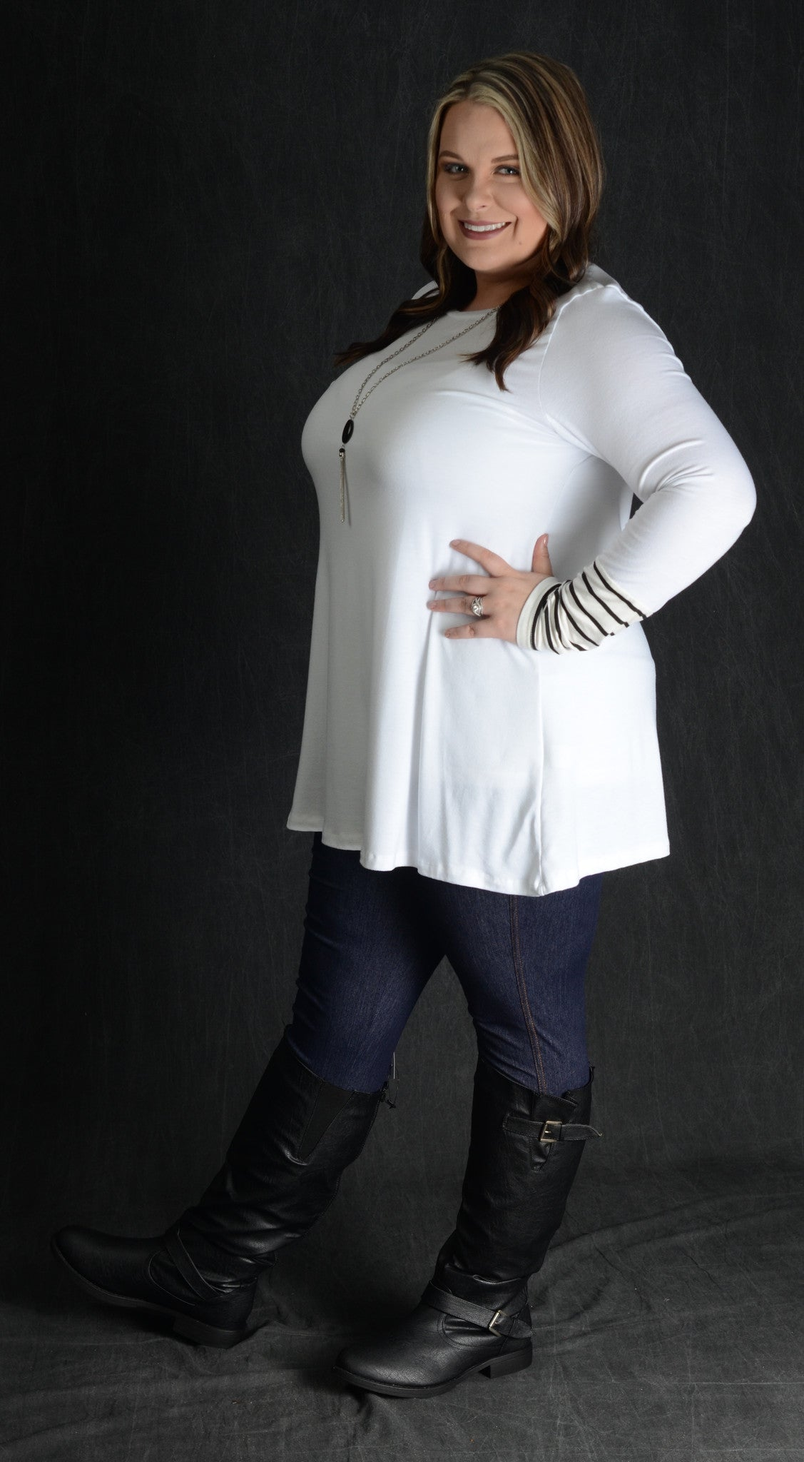 White Stripe Detail Sleeve Top - www.mycurvystore.com - Curvy Boutique - Plus Size