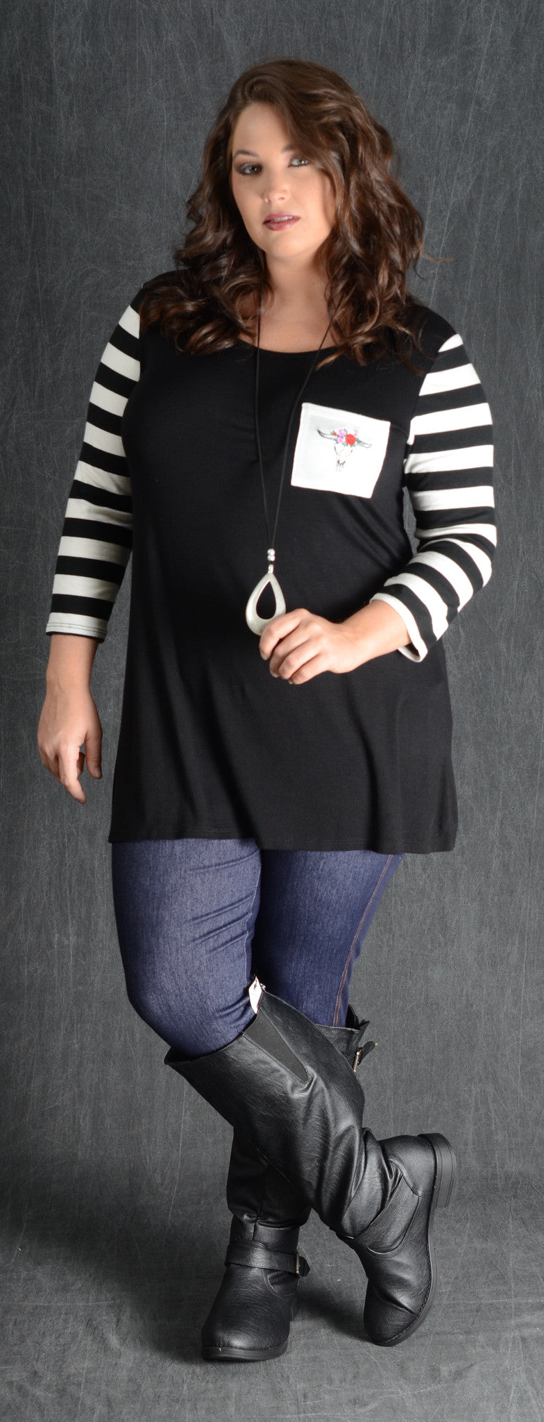Black & Stripe Bullhead Pocket Top - www.mycurvystore.com - Curvy Boutique - Plus Size