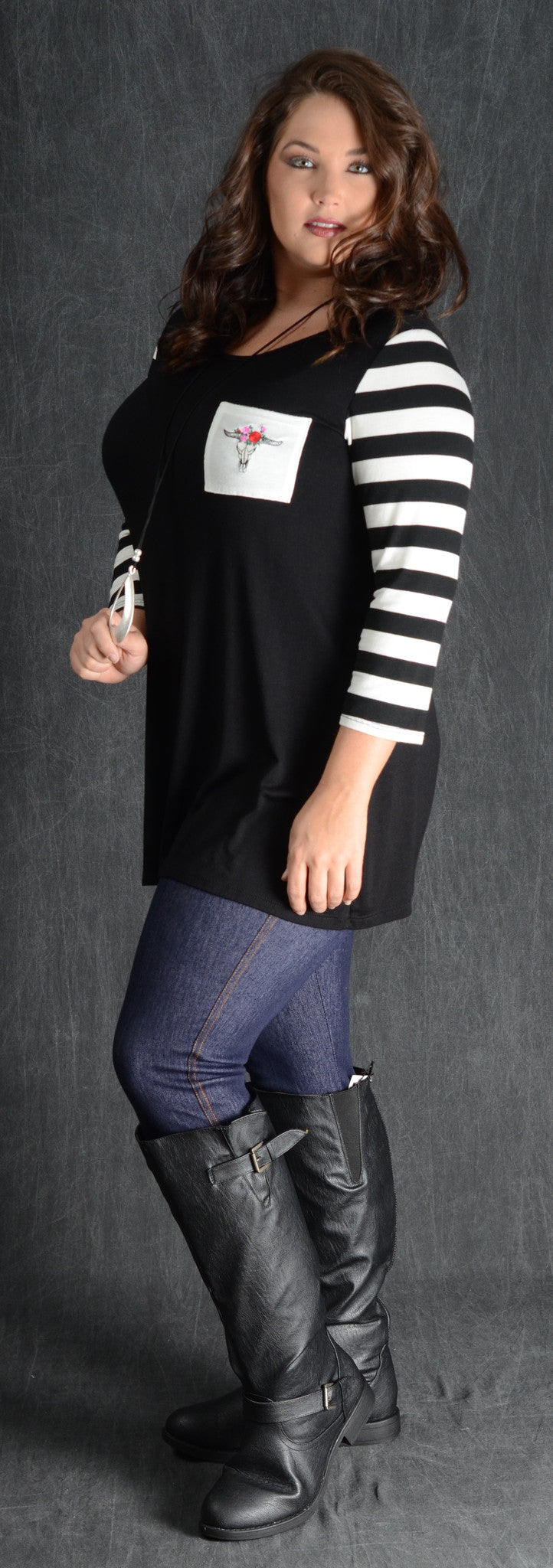 Black & Stripe Bullhead Pocket Top - www.mycurvystore.com - Curvy Boutique