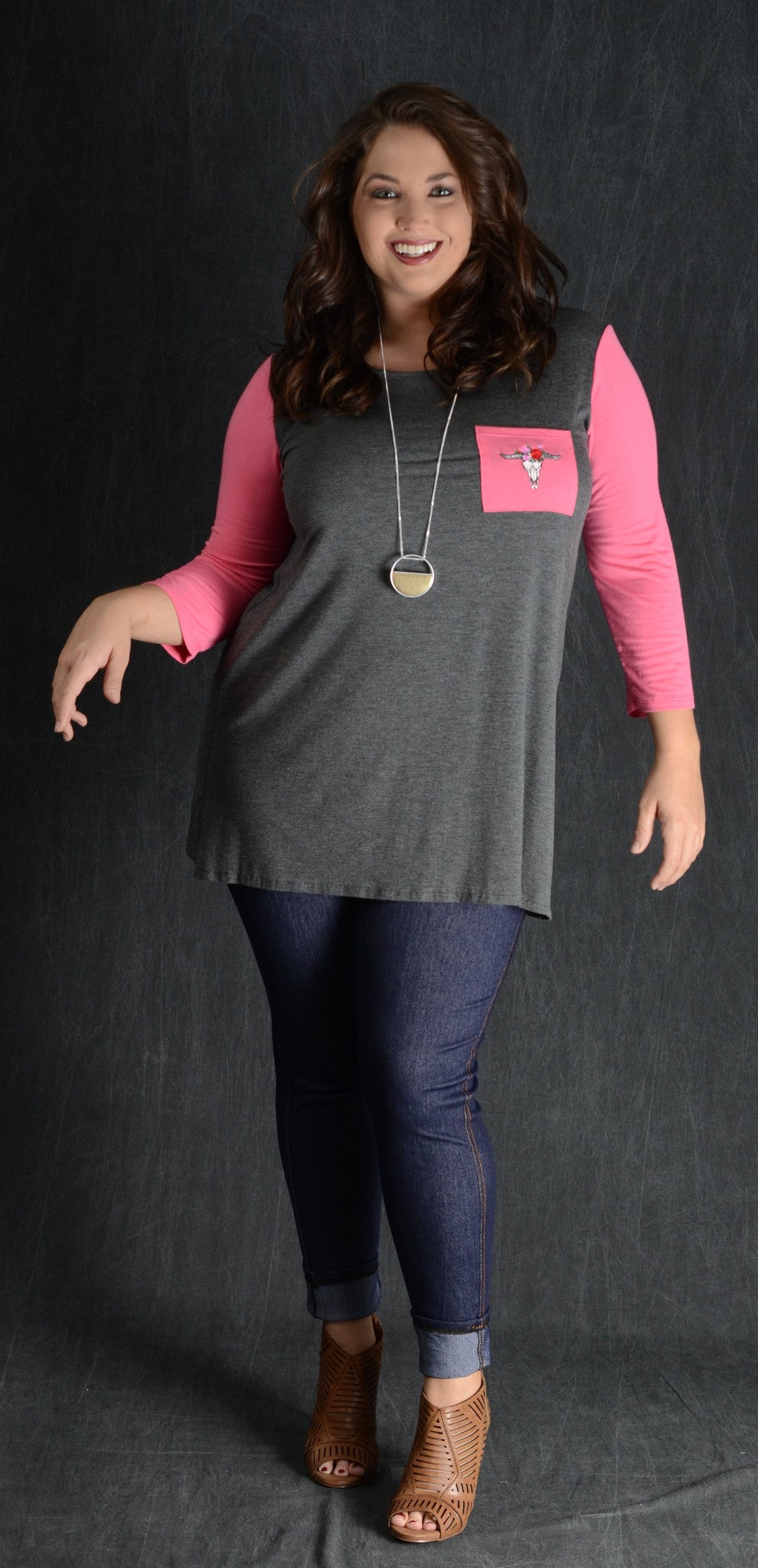 Coral Bullhead Pocket Top - www.mycurvystore.com - Curvy Boutique - Plus Size