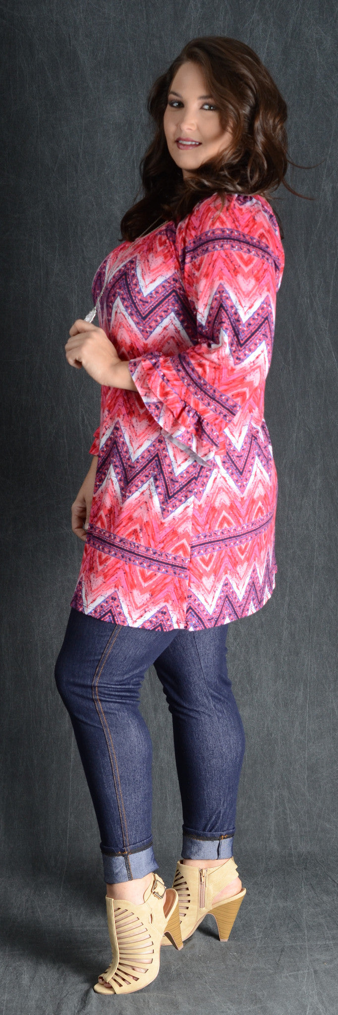 Fuchsia Chevron Pattern Top - www.mycurvystore.com - Curvy Boutique - Plus Size
