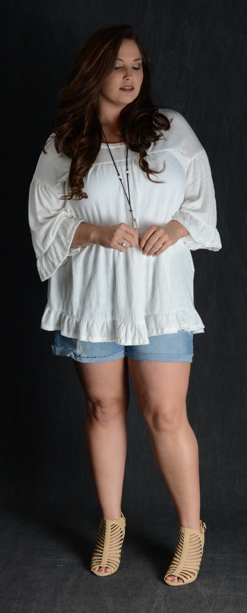 Ivory Ruffle Tunic Top - www.mycurvystore.com - Curvy Boutique - Plus Size