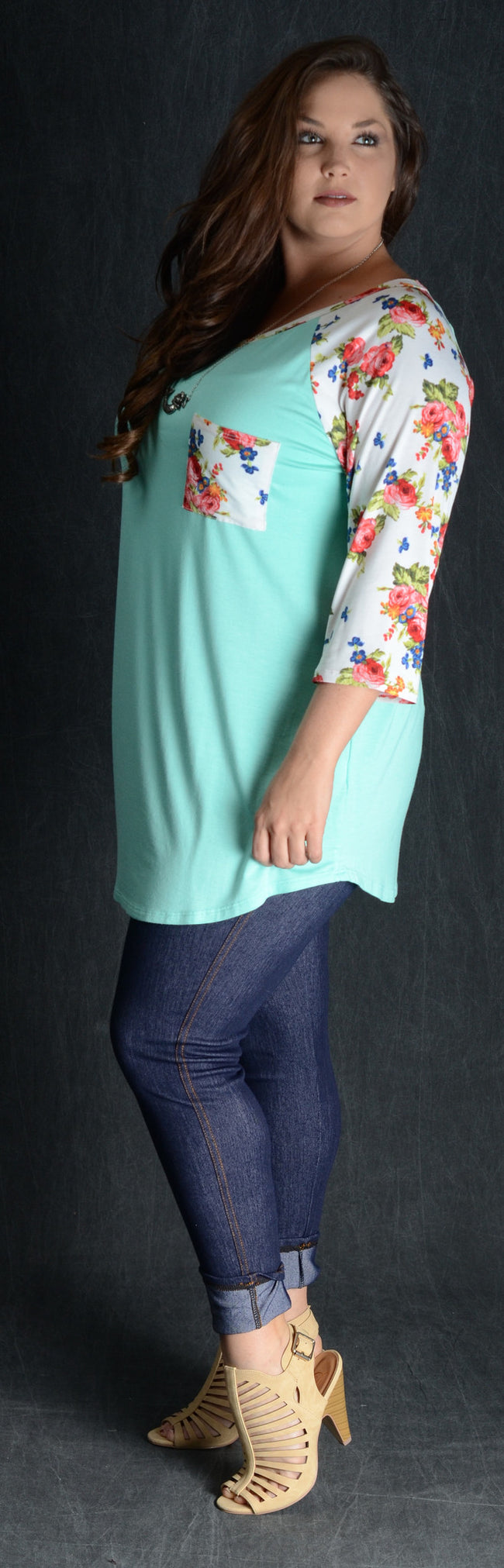 Mint Floral Contrast Top - www.mycurvystore.com - Curvy Boutique