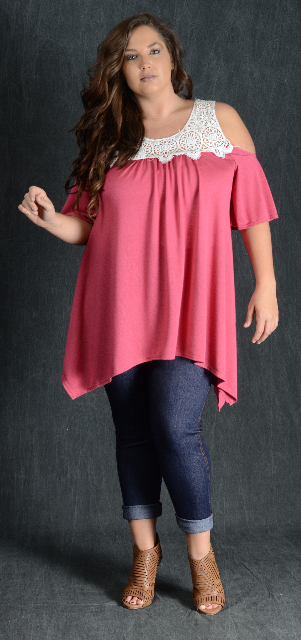 Red Open Shoulder Lace Top - www.mycurvystore.com - Curvy Boutique - Plus Size