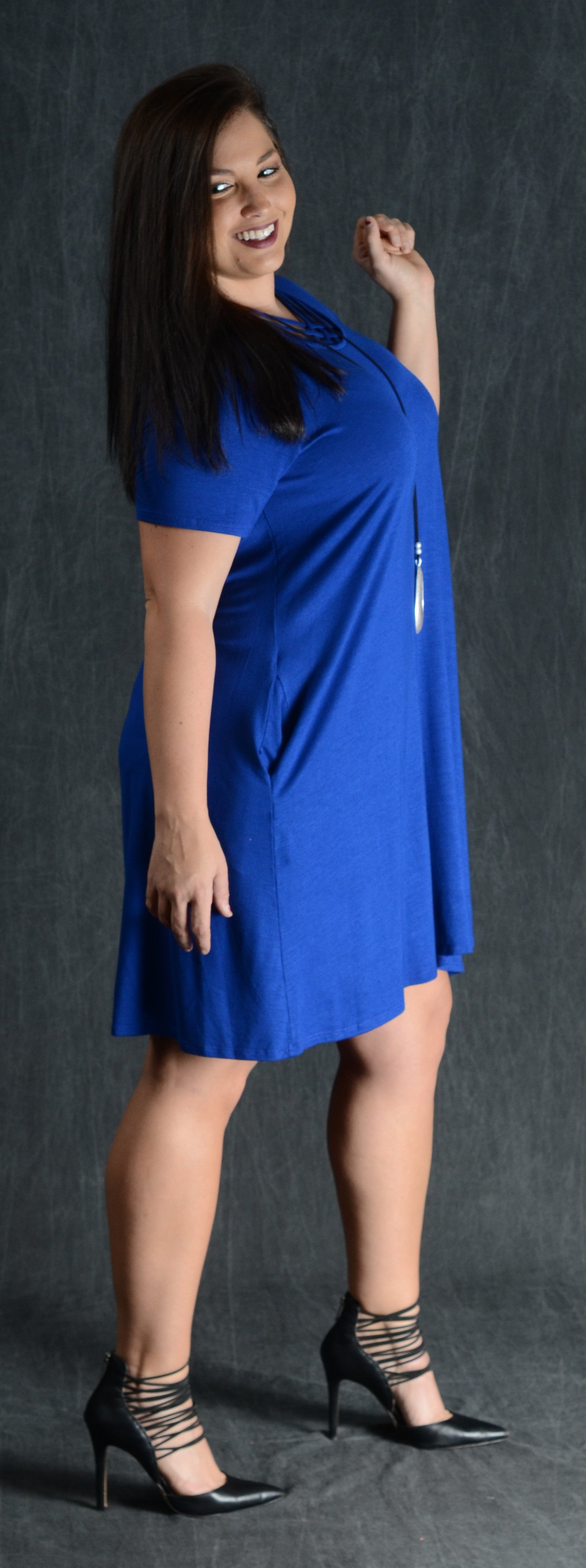 Royal Blue Criss Cross Pocket Dress - www.mycurvystore.com - Curvy Boutique - Plus Size
