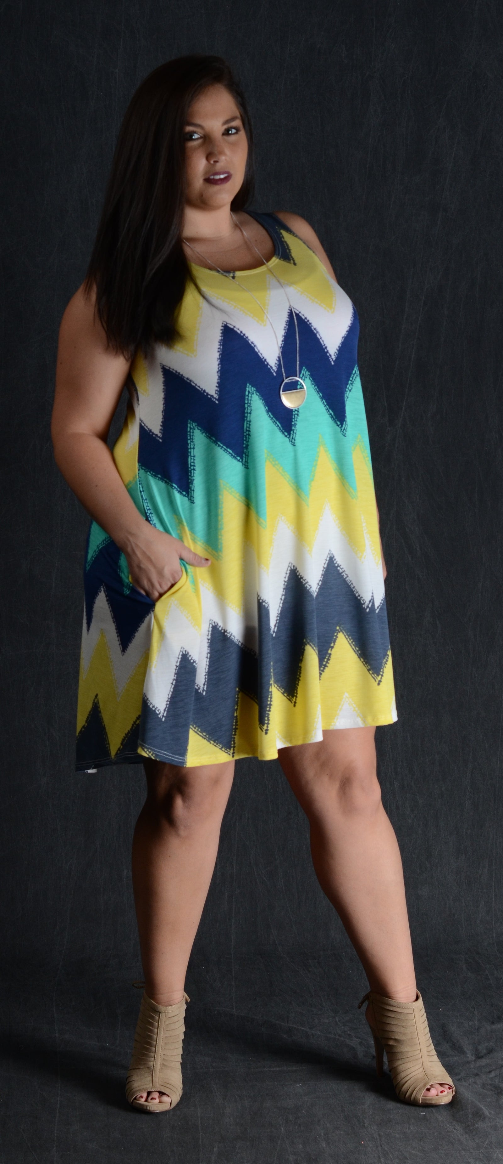 Yellow Chevron Tank Dress - www.mycurvystore.com - Curvy Boutique - Plus Size
