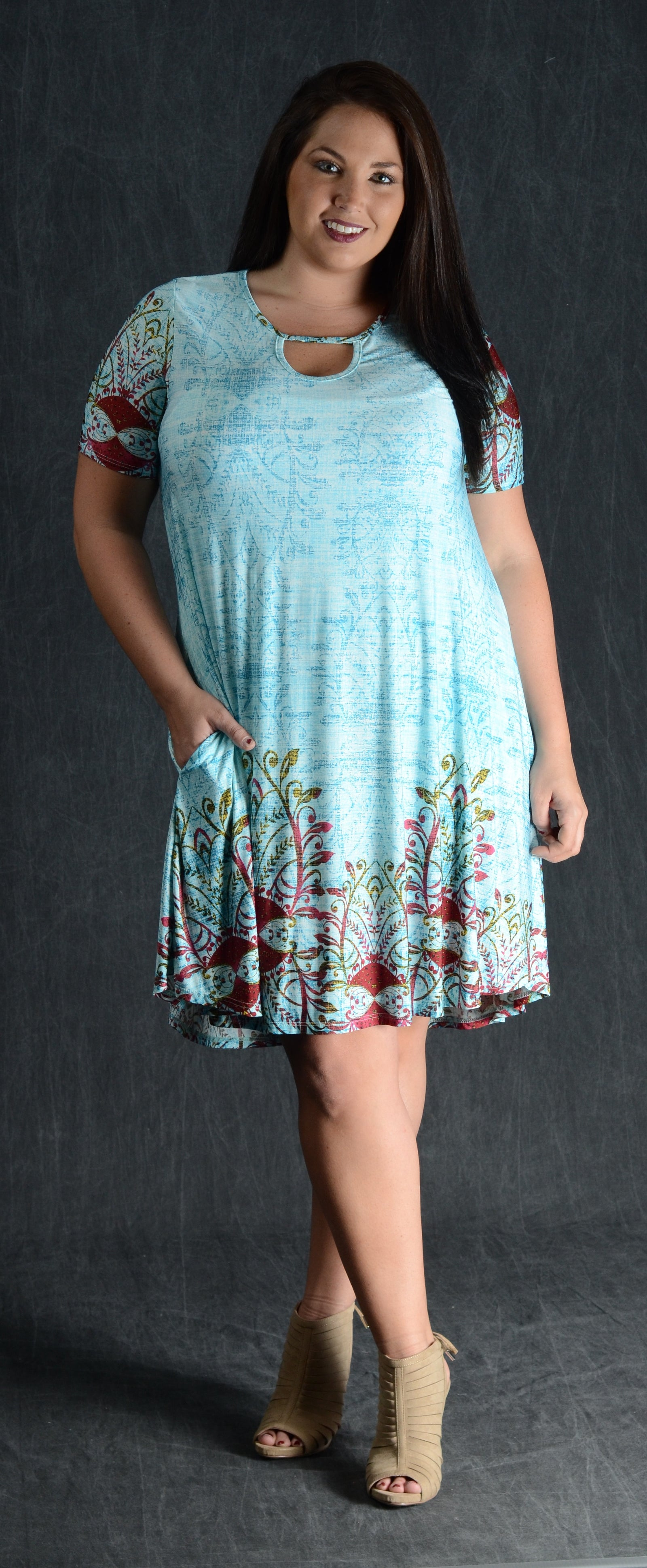Mint Keyhole Pocket Dress - www.mycurvystore.com - Curvy Boutique