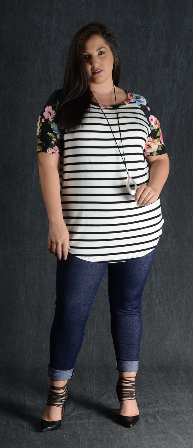 Black Stripe & Floral Sleeve Top - www.mycurvystore.com - Curvy Boutique - Plus Size