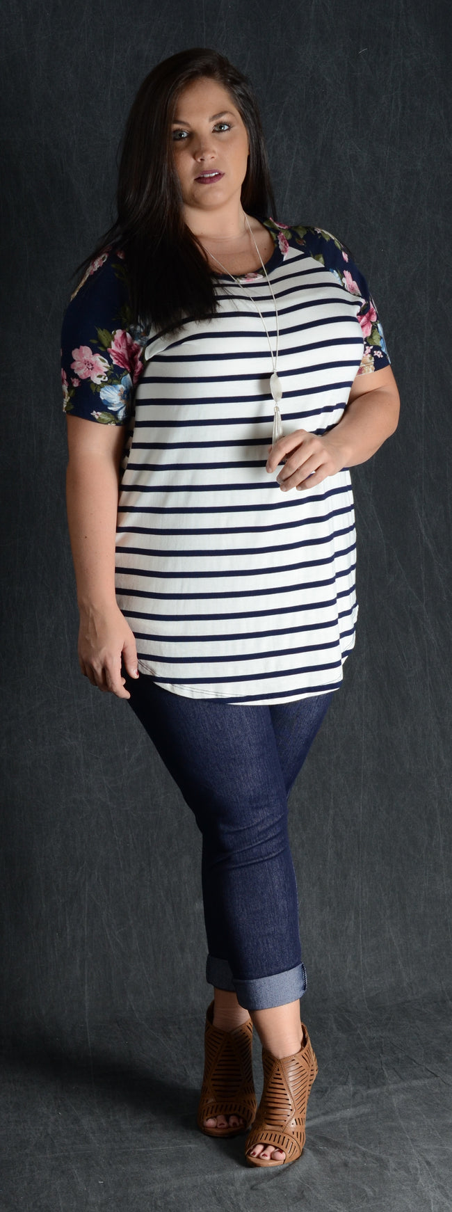 Navy Stripes & Floral Sleeve Top - www.mycurvystore.com - Curvy Boutique