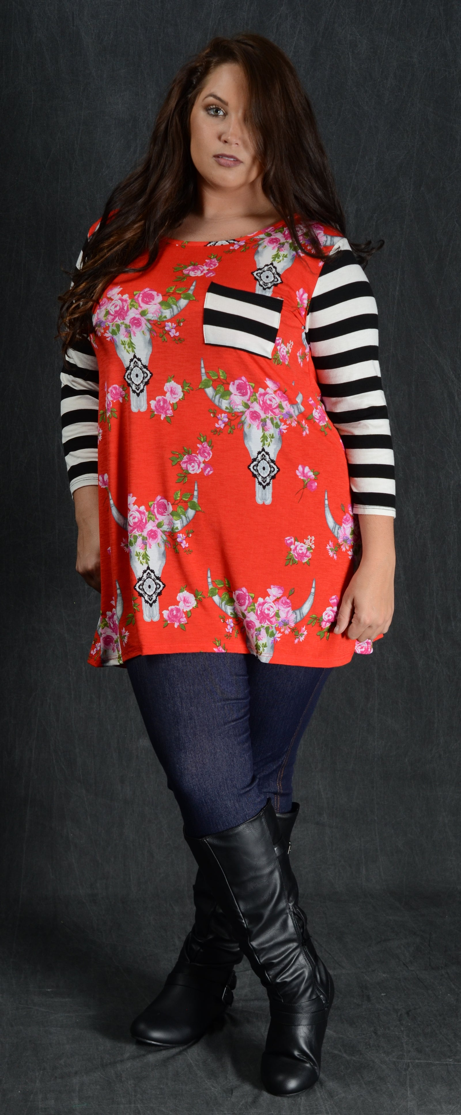 Red & Floral Bullhead Stripe Top - www.mycurvystore.com - Curvy Boutique - Plus Size