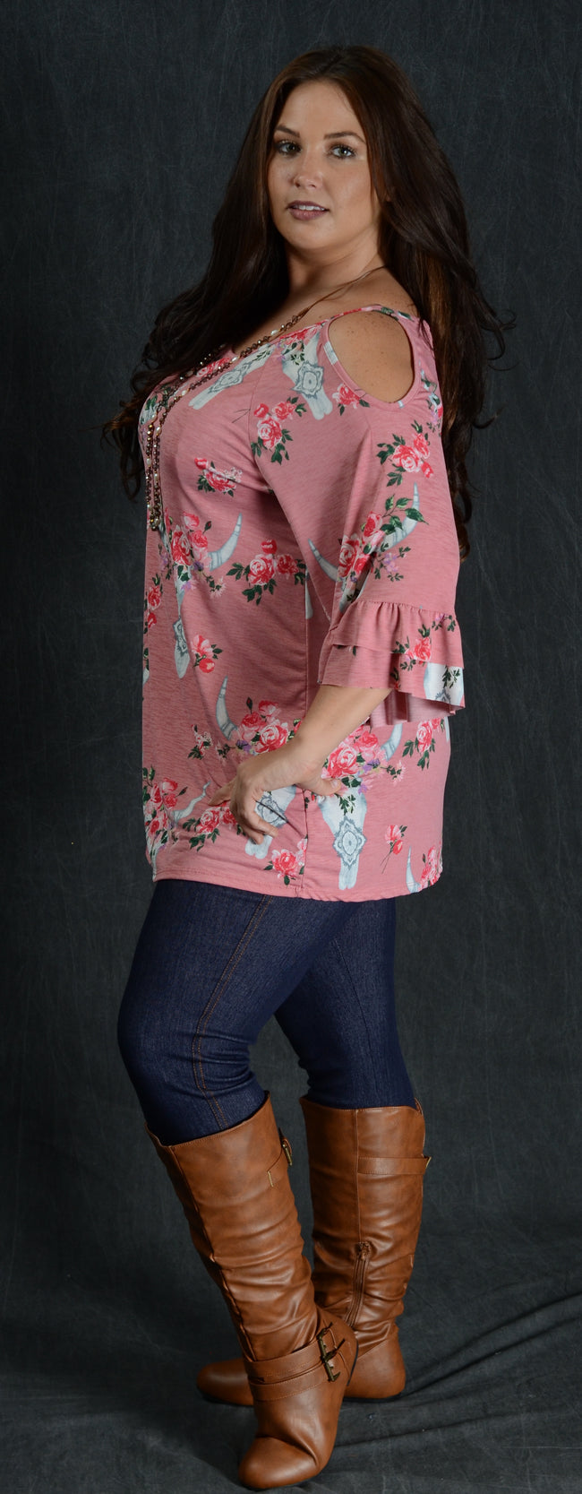 Pink Cold Shoulder Bullhead Top - www.mycurvystore.com - Curvy Boutique - Plus Size