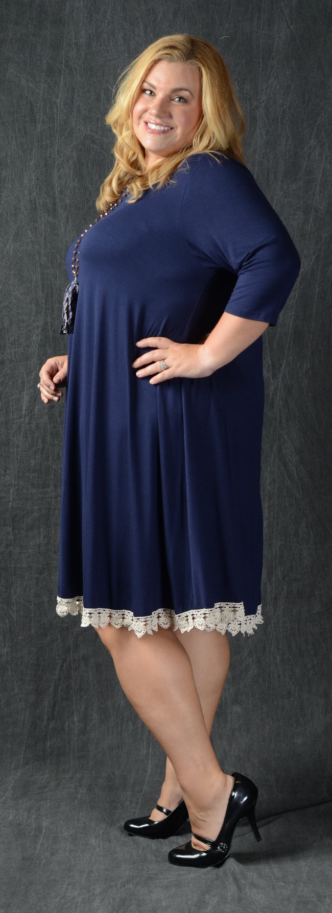 Navy Crochet Hem Dress - www.mycurvystore.com - Curvy Boutique - Plus Size