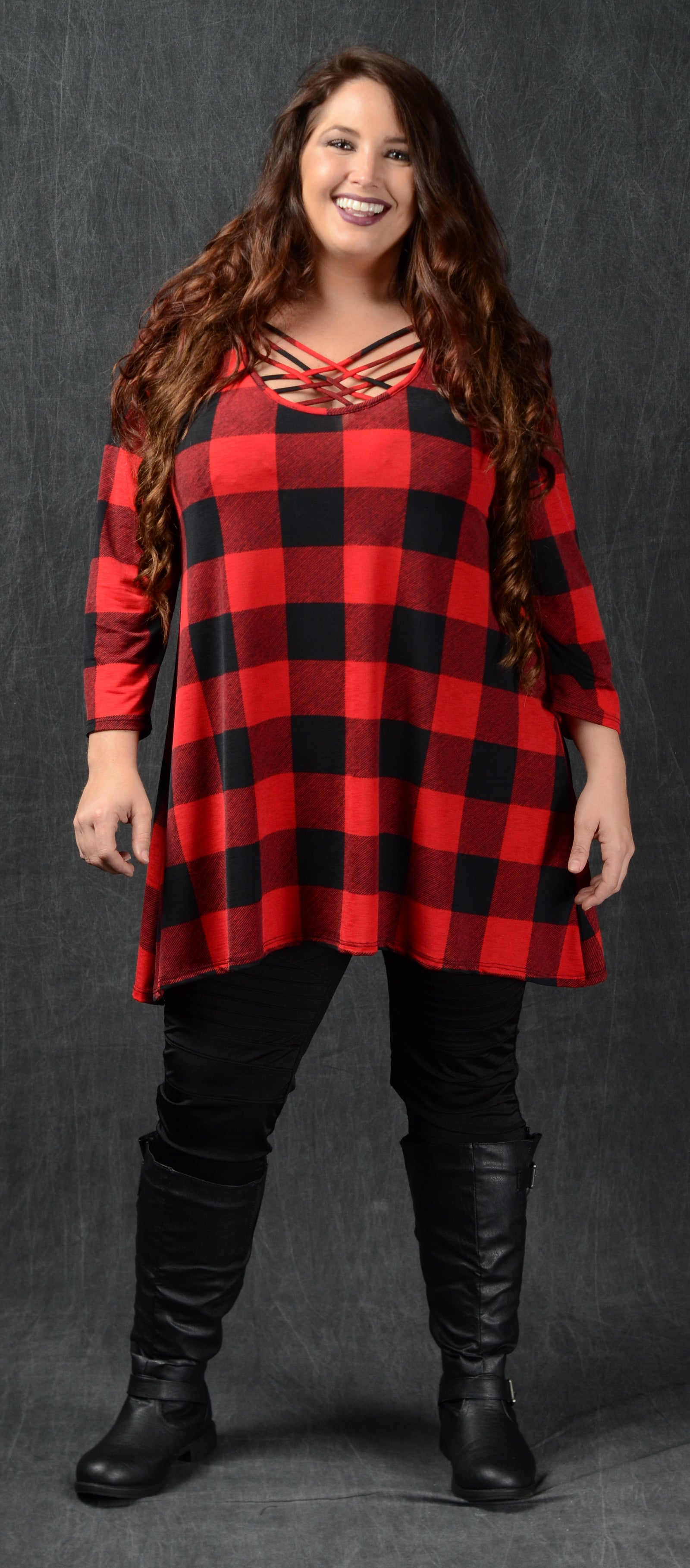 Red & Black Checker Top - www.mycurvystore.com - Curvy Boutique - Plus Size