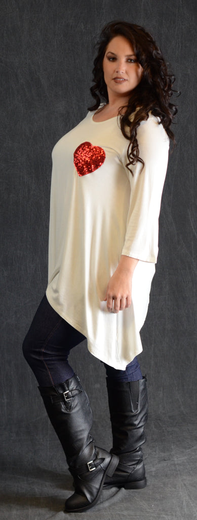 Ivory Sequin Heart Patch Top - www.mycurvystore.com - Curvy Boutique
