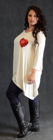 Ivory Sequin Heart Patch Top