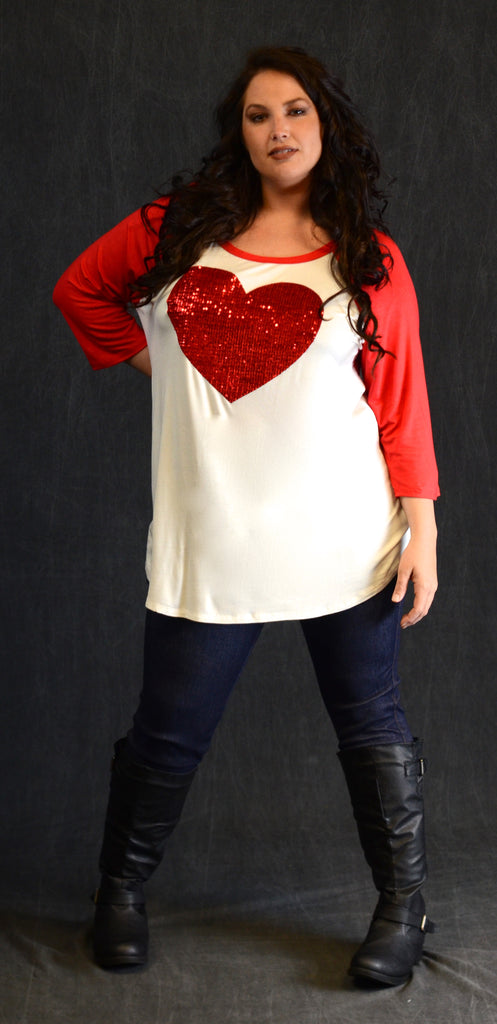 Red Sequin Heart Top - www.mycurvystore.com - Curvy Boutique