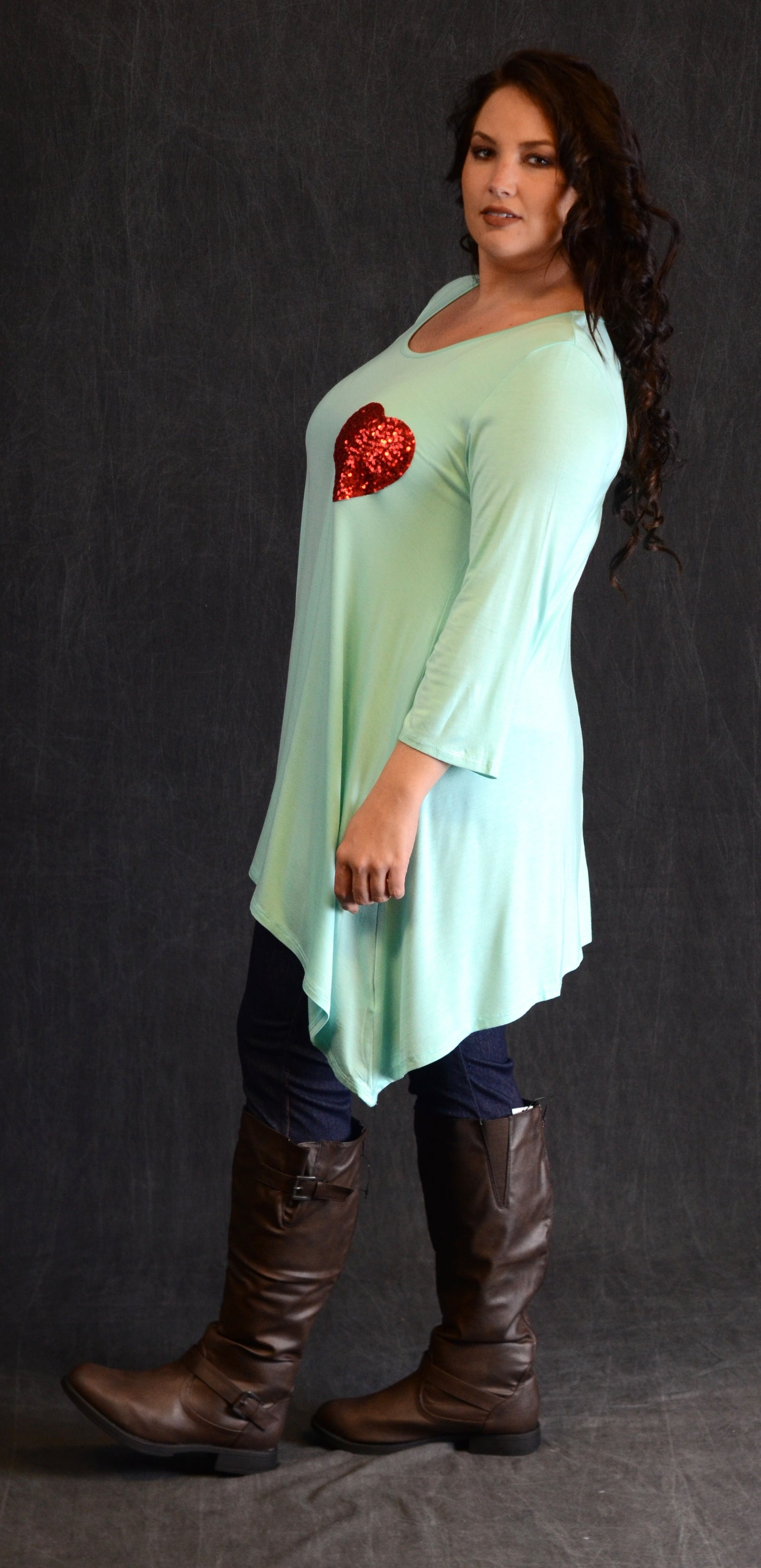 Mint Sequin Heart Patch Top - www.mycurvystore.com - Curvy Boutique