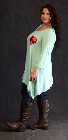 Mint Sequin Heart Patch Top