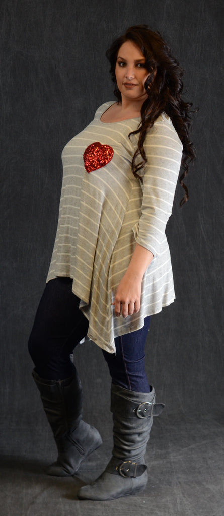 Striped Gray Heart Patch Top - www.mycurvystore.com - Curvy Boutique