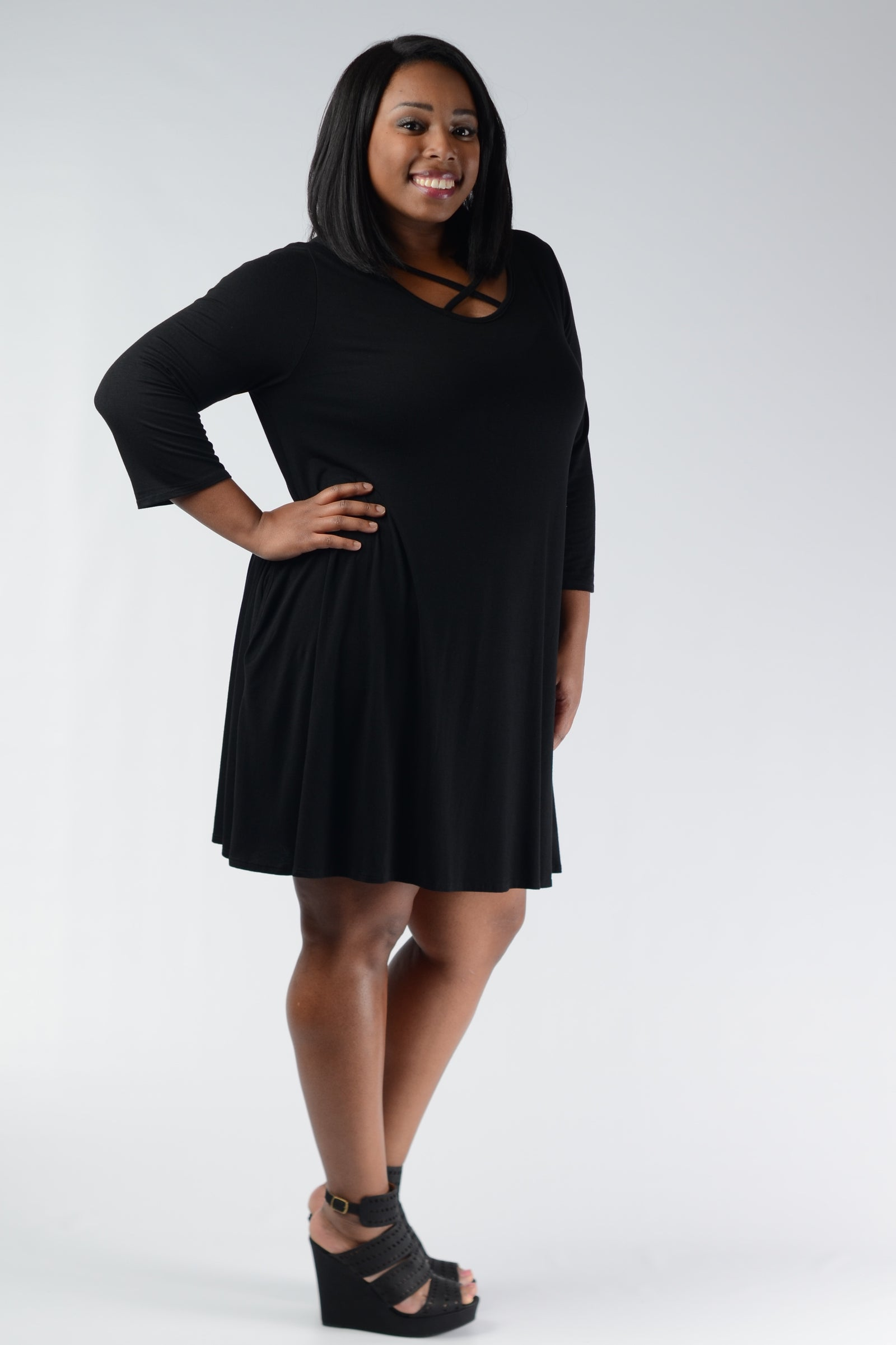Black Corset Bust Pocket Dress - www.mycurvystore.com - Curvy Boutique - Plus Size