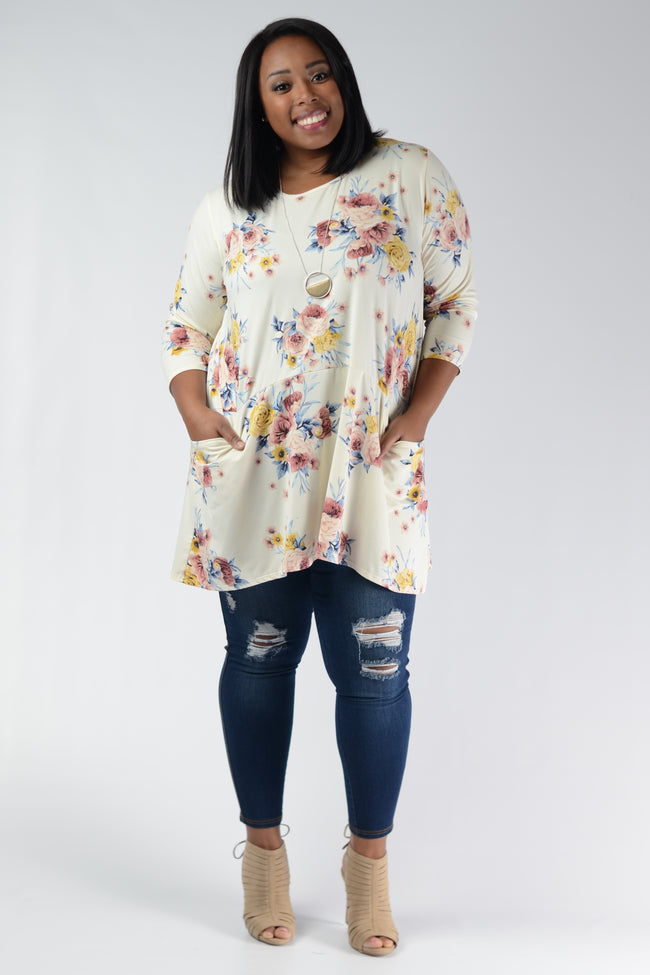 Ivory Floral Pocket Tunic Top - www.mycurvystore.com - Curvy Boutique - Plus Size