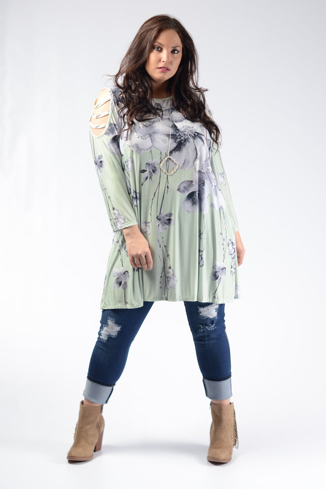 Mint Floral Slit Shoulder Top - www.mycurvystore.com - Curvy Boutique - Plus Size