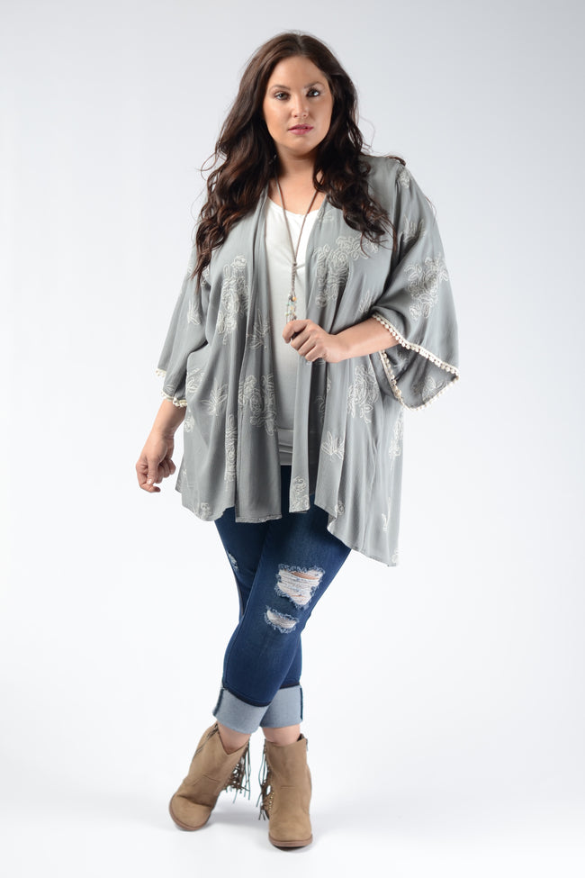 Sage Embroidered Cardigan - www.mycurvystore.com - Curvy Boutique - Plus Size