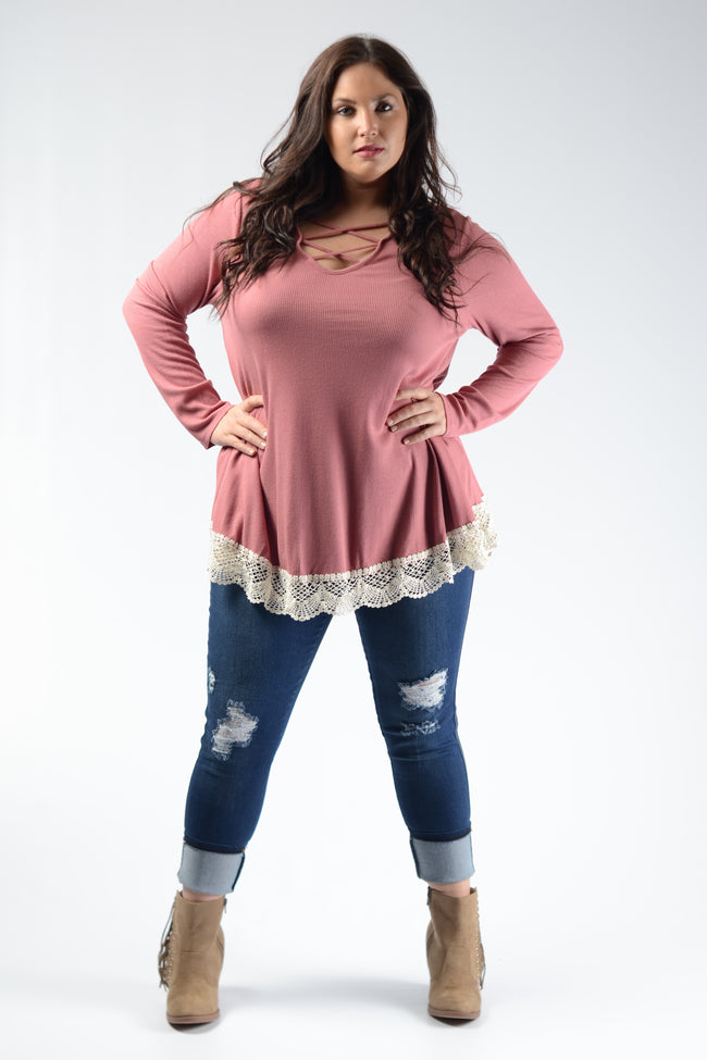 913672ecede ... Boutique - Plus Size · Pink Crochet Hem Top
