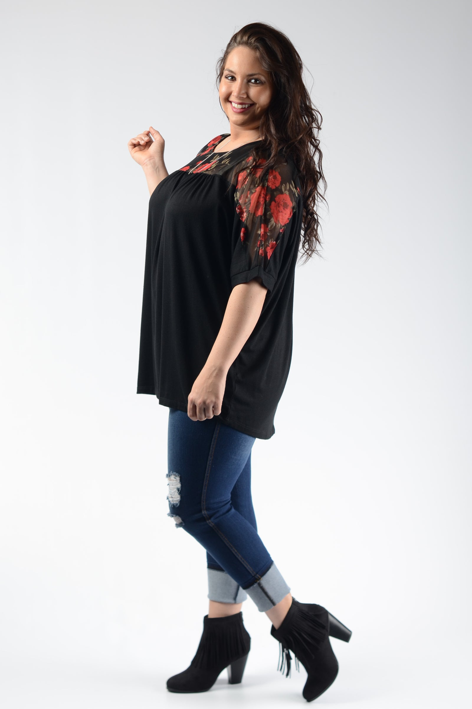Black & Floral Shoulder Top - www.mycurvystore.com - Curvy Boutique - Plus Size