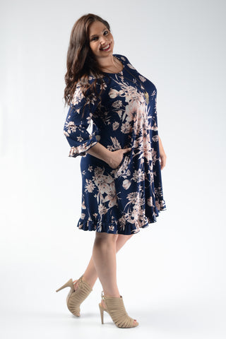 Navy Floral Hem Pocket Dress