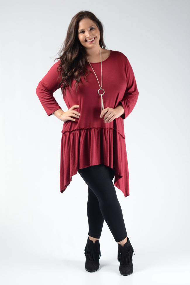Burgundy Layer Asymmetrical Tunic - www.mycurvystore.com - Curvy Boutique - Plus Size