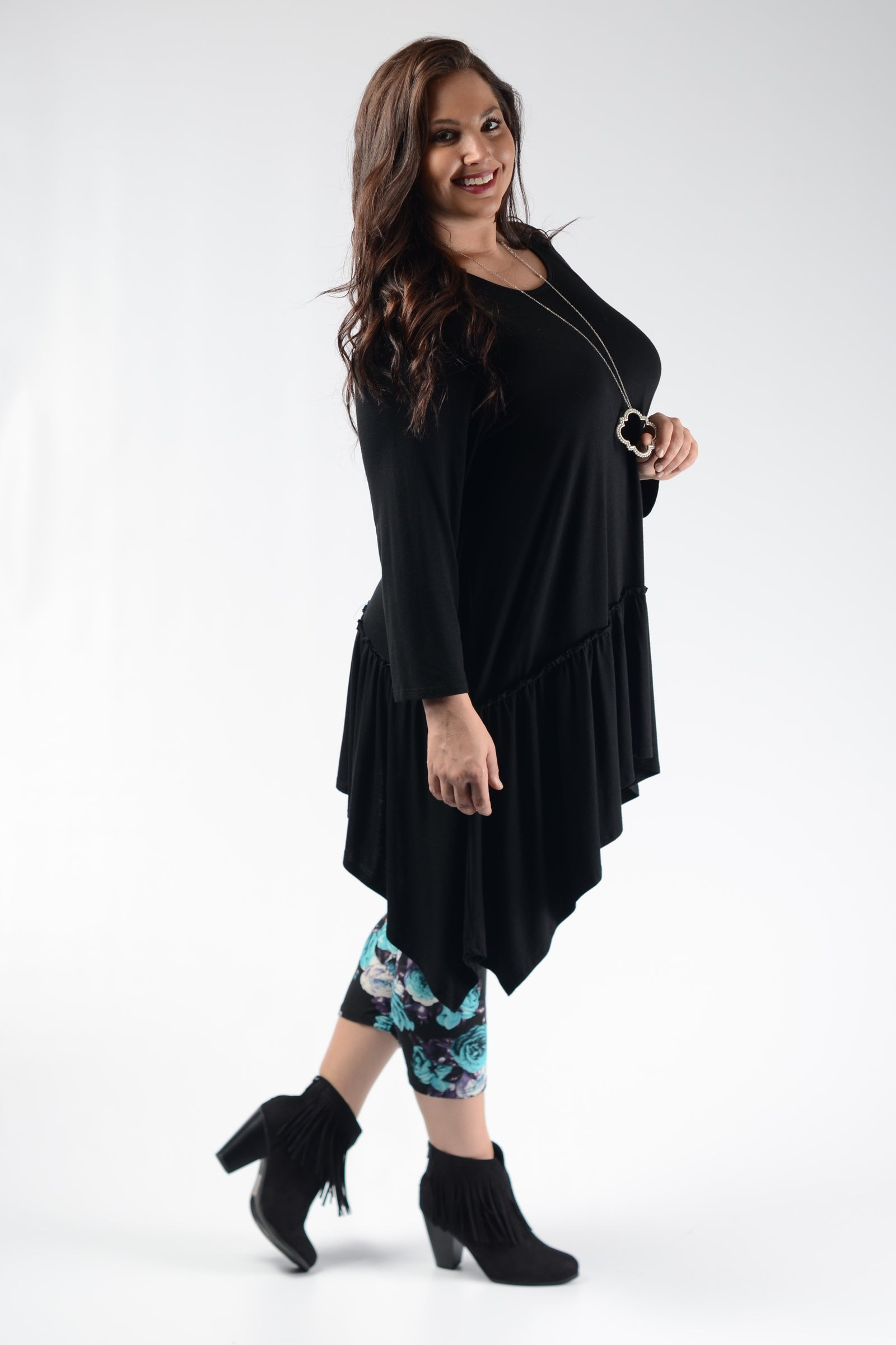Black Layer Asymmetrical Tunic - www.mycurvystore.com - Curvy Boutique - Plus Size