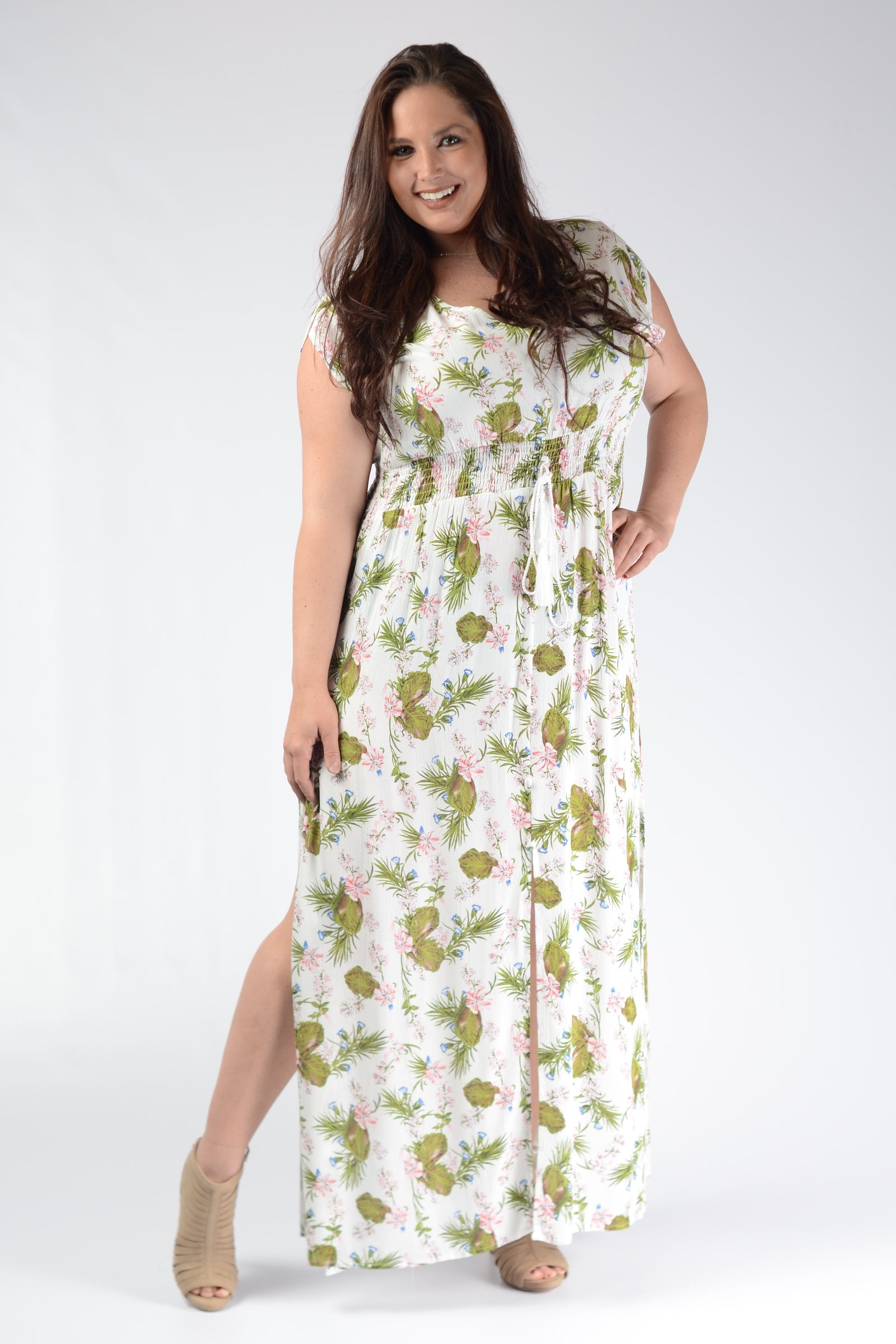 White Button Down Maxi Dress - www.mycurvystore.com - Curvy Boutique - Plus Size
