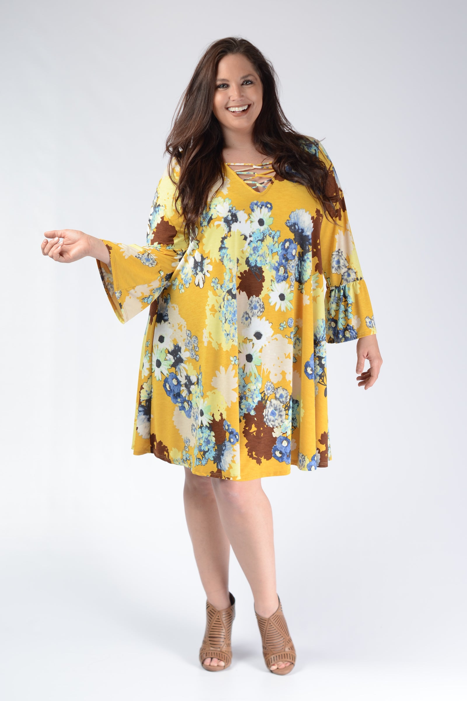 Yellow Floral Corset Bust Dress - www.mycurvystore.com - Curvy Boutique - Plus Size
