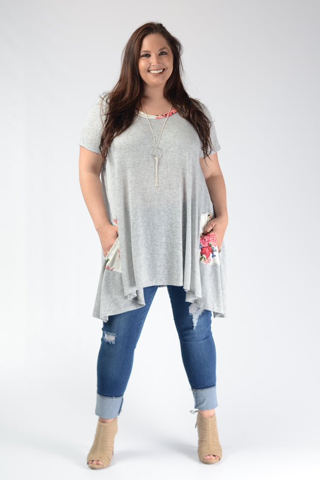 Grey Knit Floral Pocket Top - www.mycurvystore.com - Curvy Boutique - Plus Size