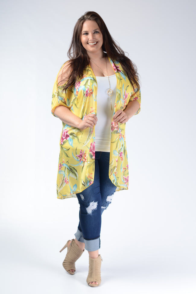 Yellow Floral Kimono Cardigan - Cold Shoulder - www.mycurvystore.com - Curvy Boutique - Plus Size