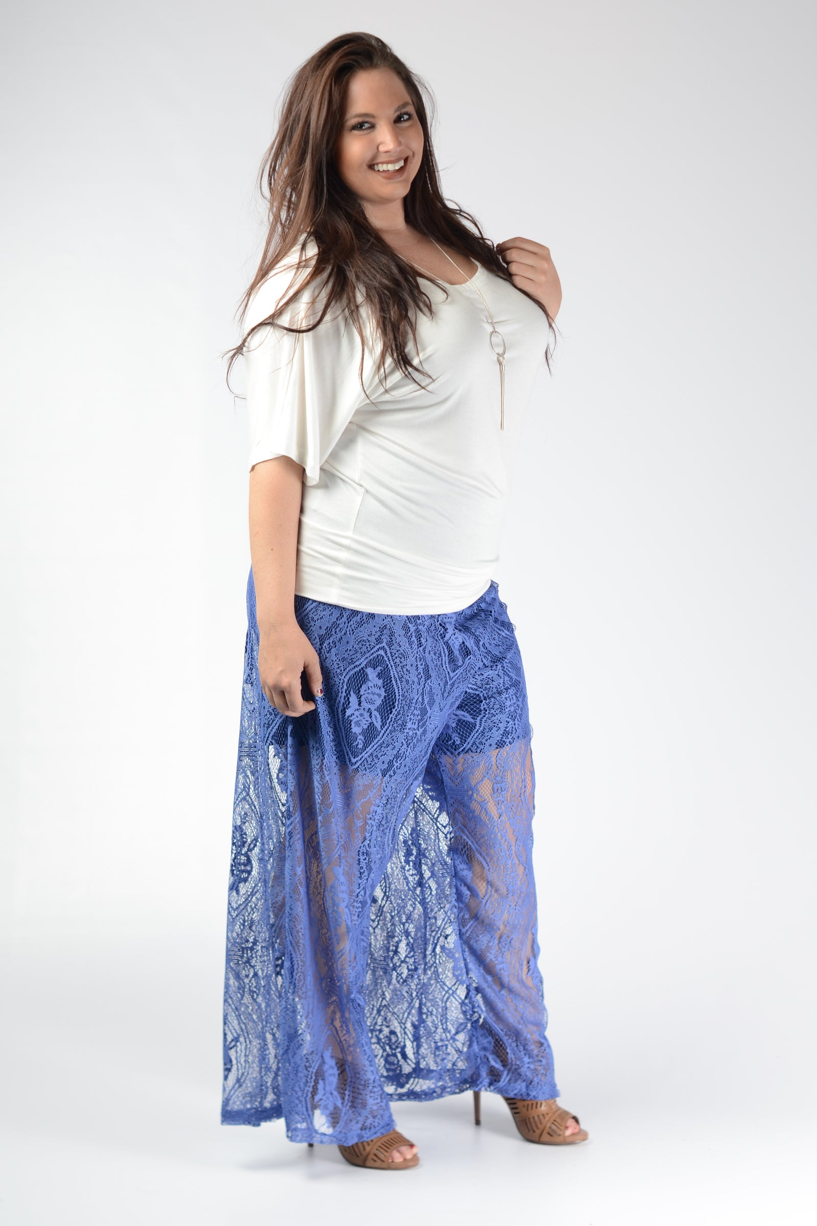 Royal Blue Lace Pants - www.mycurvystore.com - Curvy Boutique - Plus Size