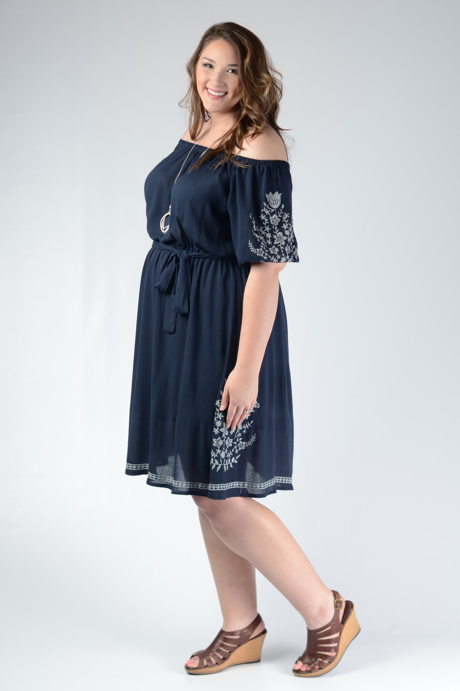 Navy Embroidered Dress - www.mycurvystore.com - Curvy Boutique - Plus Size