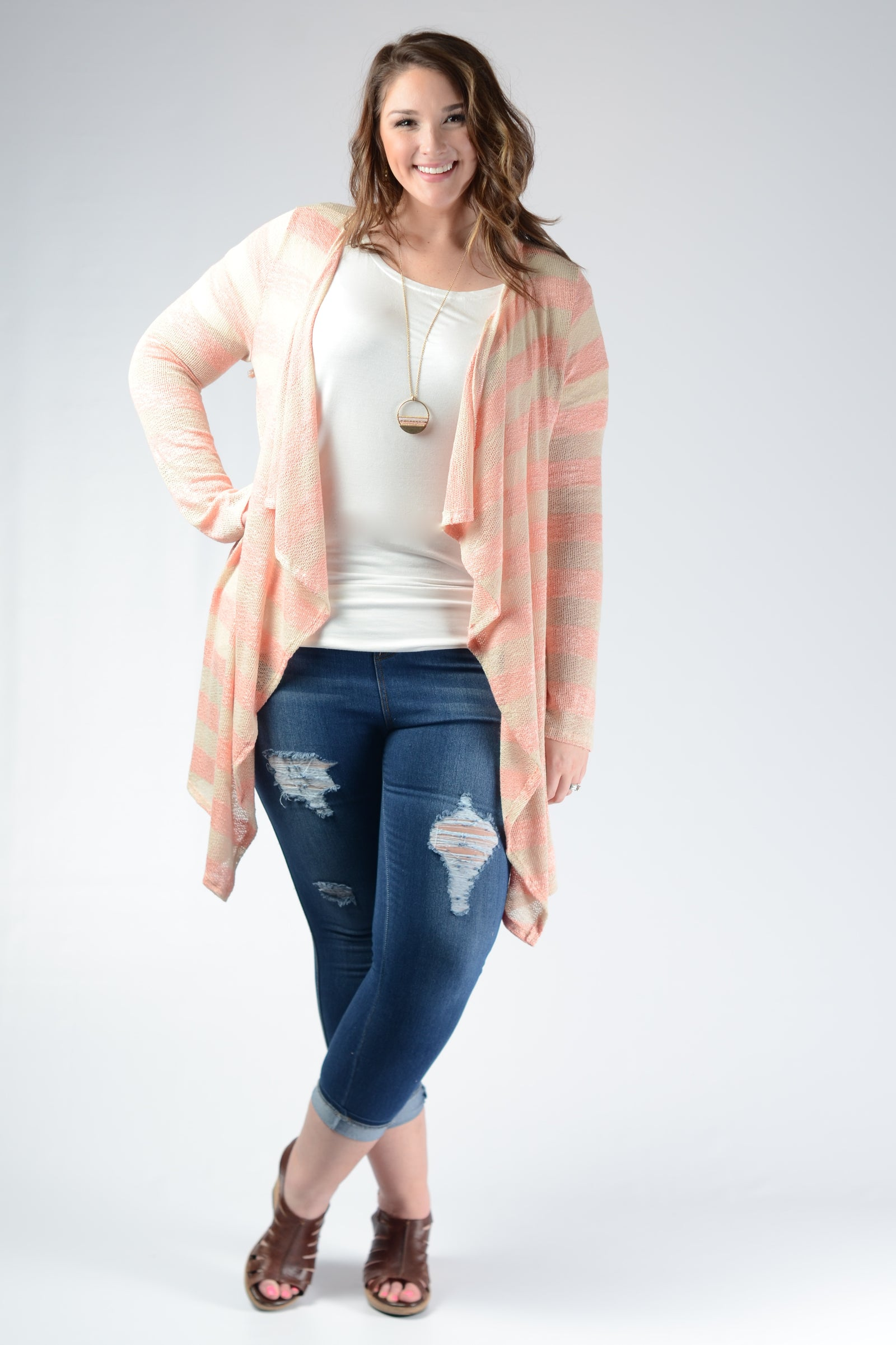 Peach Striped Knit Cardigan - www.mycurvystore.com - Curvy Boutique - Plus Size