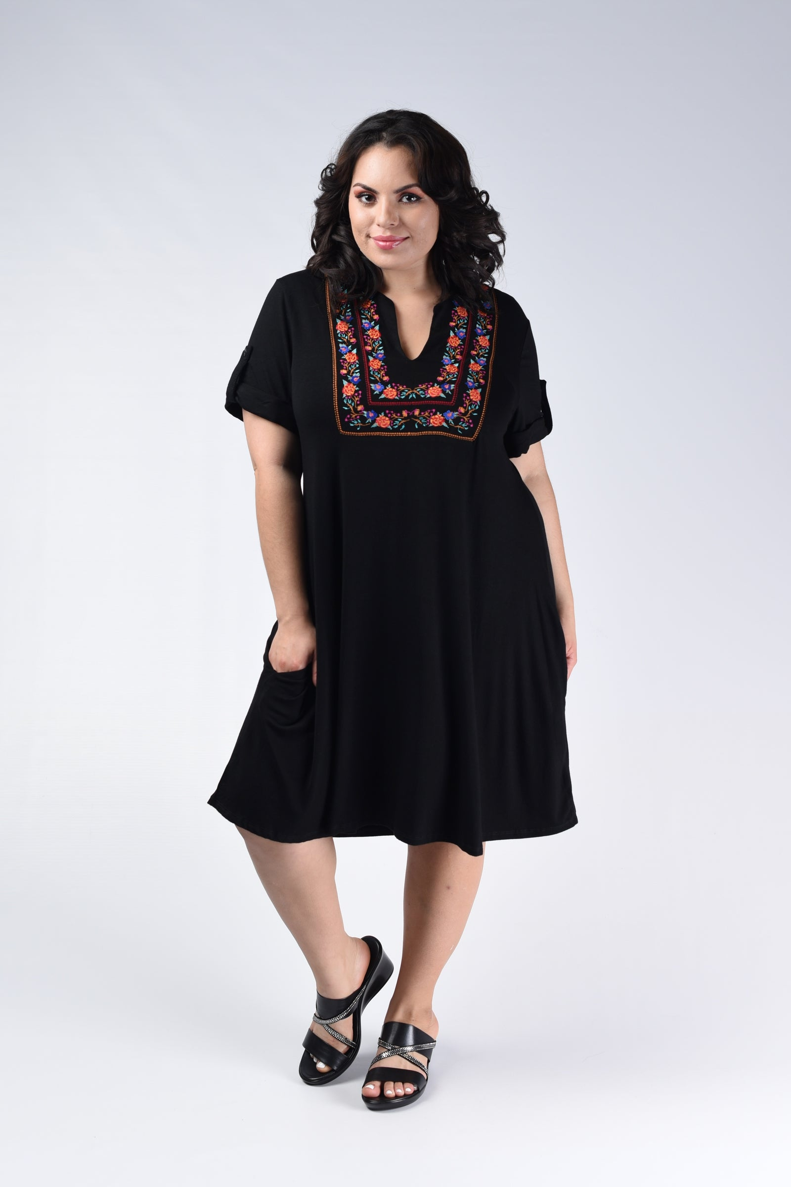 Black Embroidered Dress - www.mycurvystore.com - Curvy Boutique - Plus Size