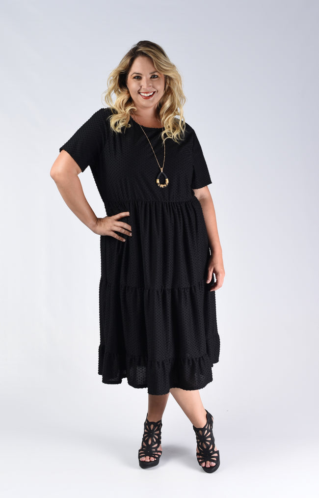 Black Textured Midi Dress - www.mycurvystore.com - Curvy Boutique - Plus Size