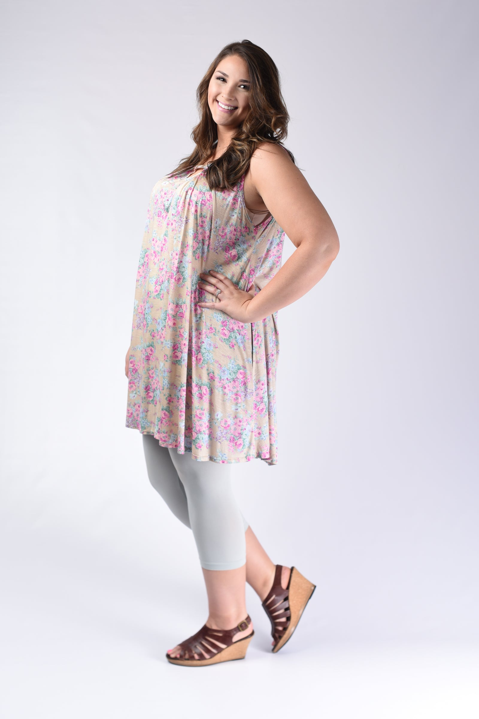 Khaki Pink Floral Dress - www.mycurvystore.com - Curvy Boutique - Plus Size