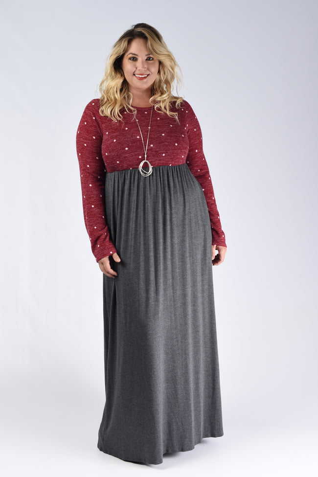 Red Polka Dot & Charcoal Maxi Dress - www.mycurvystore.com - Curvy Boutique - Plus Size