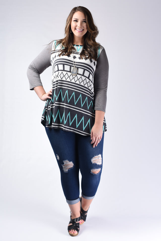 Mint Multiprint Elbow Patch Swing Top - www.mycurvystore.com - Curvy Boutique - Plus Size