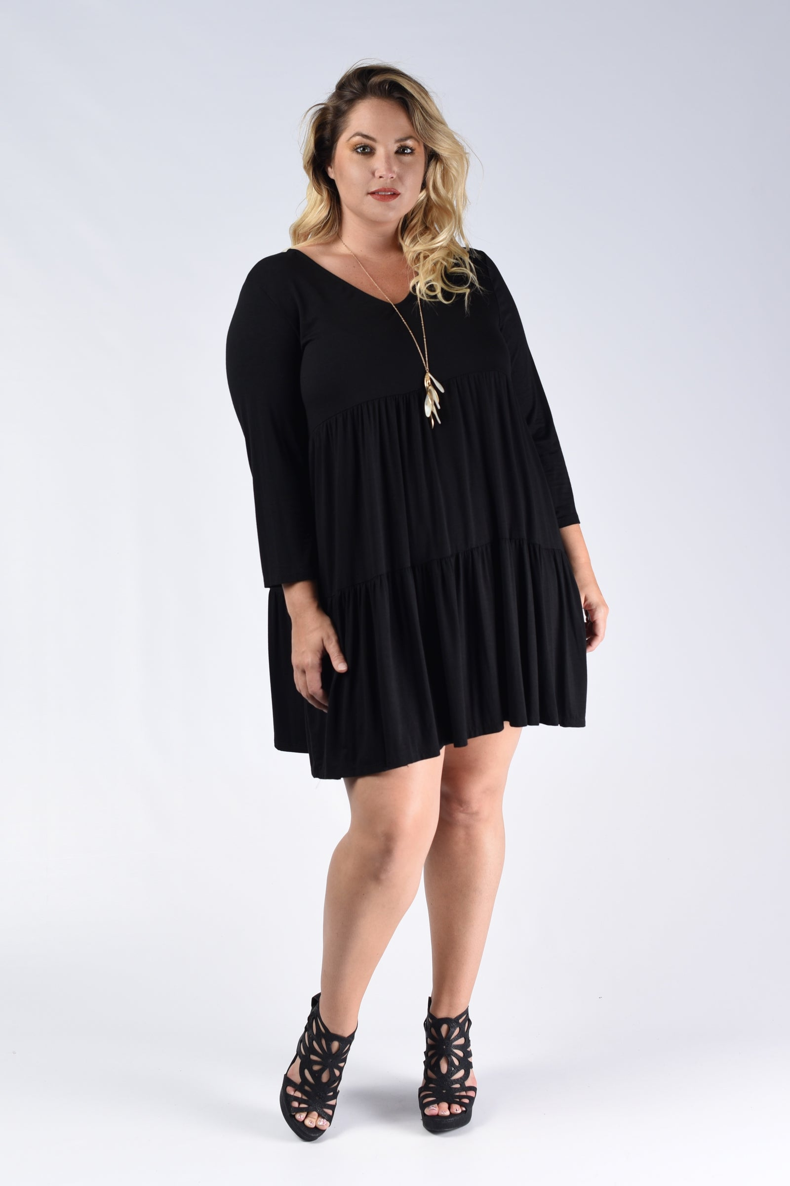 Black Tiered V-Neck Dress - www.mycurvystore.com - Curvy Boutique - Plus Size