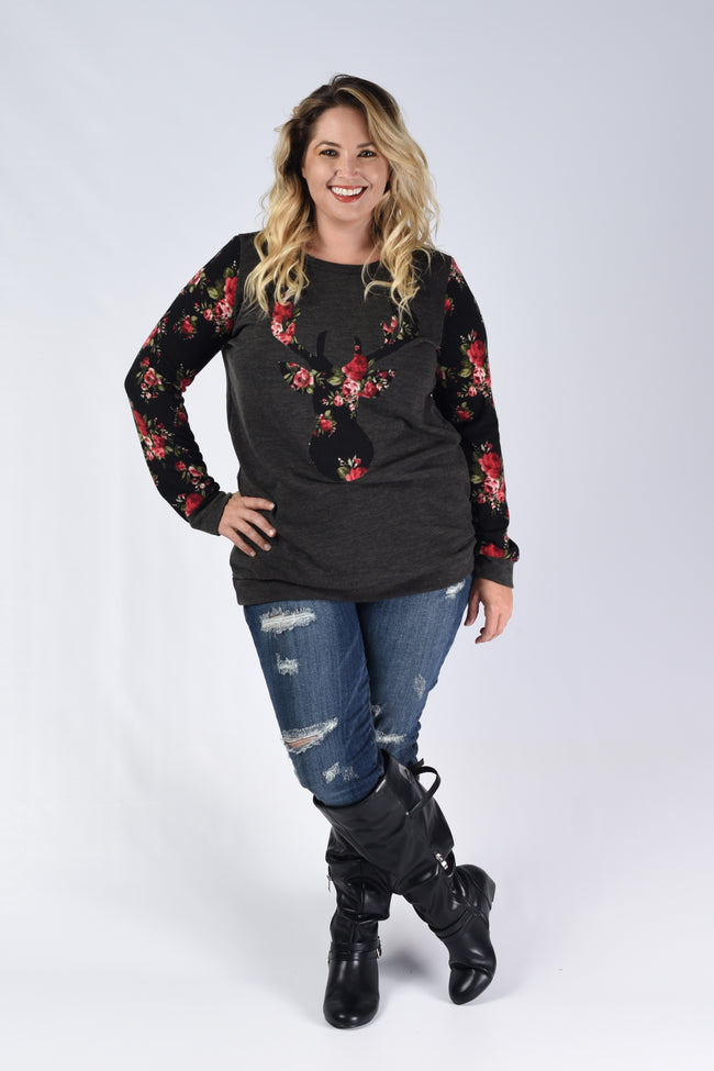 Olive Floral Deer Knit Top - www.mycurvystore.com - Curvy Boutique - Plus Size